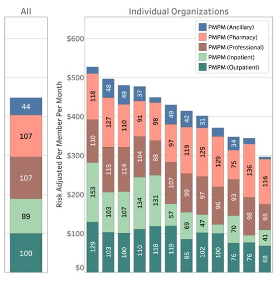 Risk Adjusted PMPM Costs by Organization and Type of Service